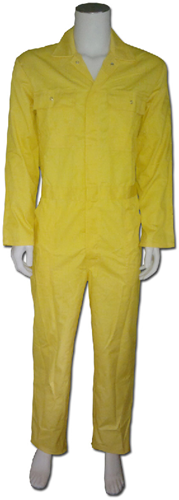 Kinderoverall polyester - katoen  - 164 - Geel